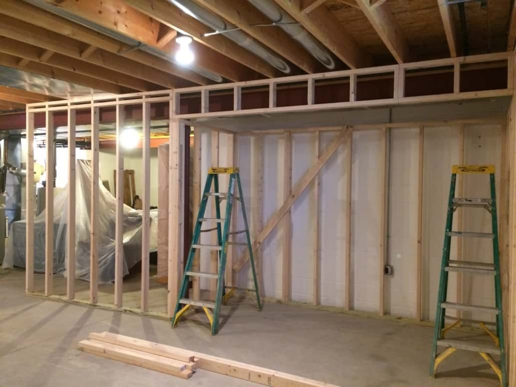 Rough Framing In Finished Basement Streetsboro Ohio