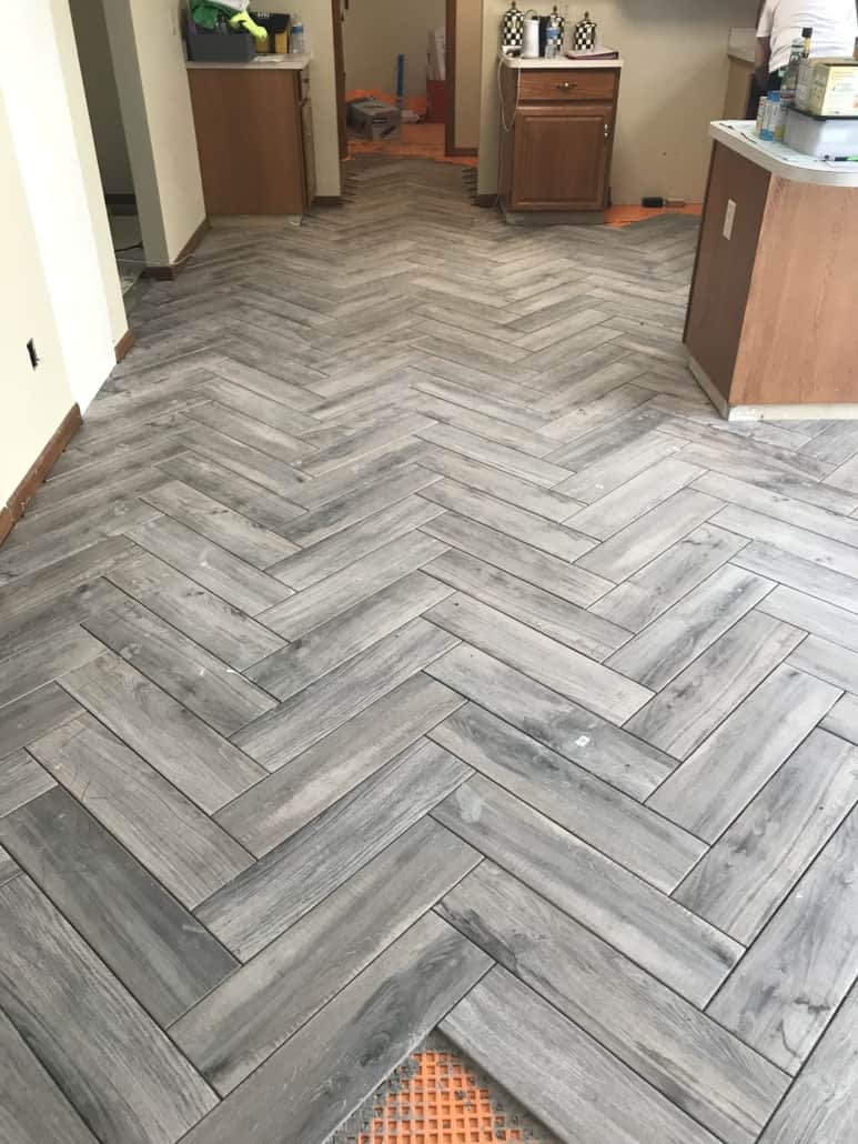 Herringbone Kitchen Floor Tile Kent Ohio Riley Home